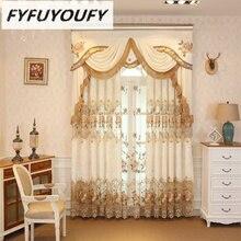 Europeu de luxo cortinas para janela estilos para sala estar elegante cortinas cortinas europeu bordado