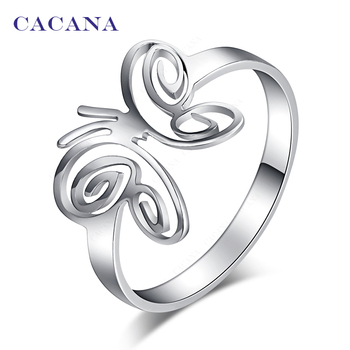 CACANA  Stainless Steel Rings For Women With Butterfly Fashion Jewelry Wholesale NO.R149