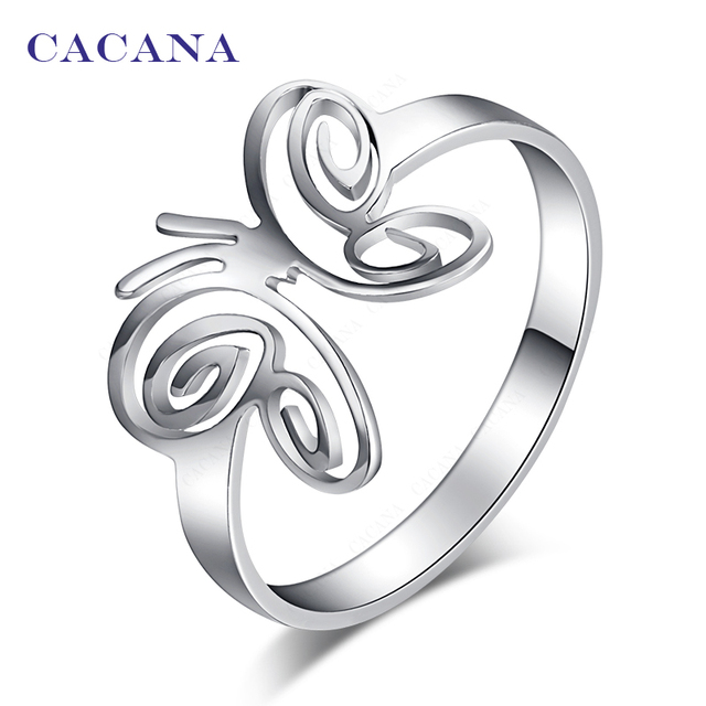 CACANA Titanium Stainless Steel Rings For Women With Butterfly Fashion Jewelry W