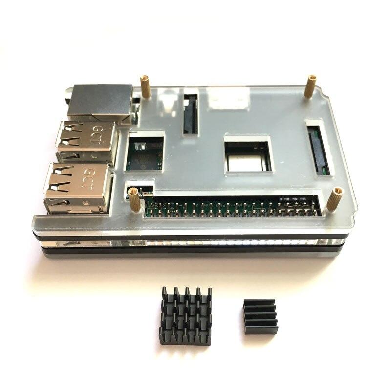 Raspberry Pi 3 Model B Case Cover Shell Enclosure Box Transparent Black Case + Heat Sink