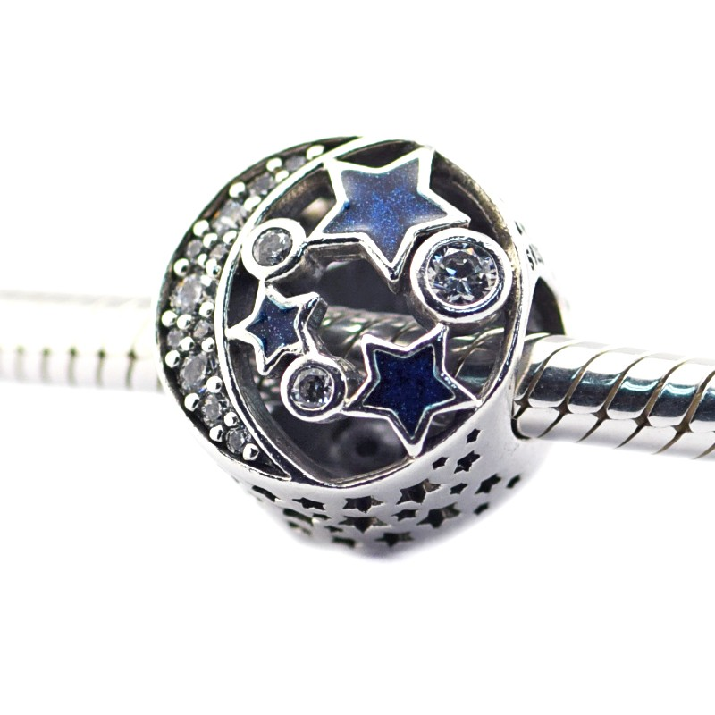 FL471 Beads Fits Pandora Charms Bracelets Vintage Night Sky Shimmering Midnight Blue Enamel&Clear CZ Charm Beads For Jewelry Making  (4)