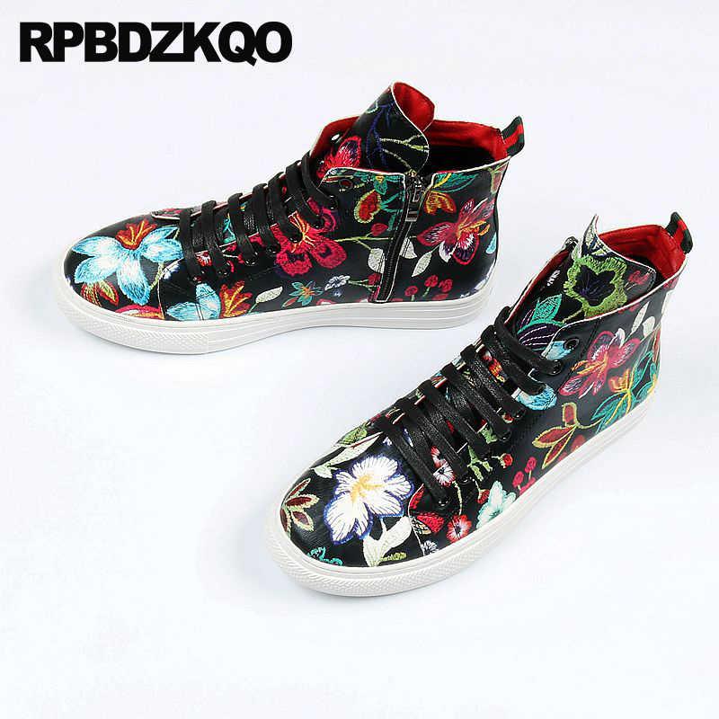 Sneakers Brand Flower Elevator Hip Hop Floral Vintage Shoes Printed Runway High  Top Black Trainers Men 4af96ab03e2a
