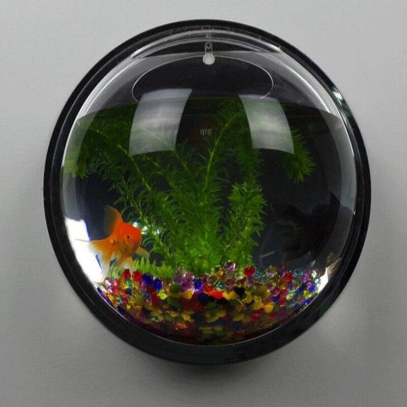 Pet Supplies 5 Sizes Bowl Creative Clear Wall Mounted Hanging Acrylic Fish Bowl Aquarium Tank Plant Vase Aquatic Home Decoration