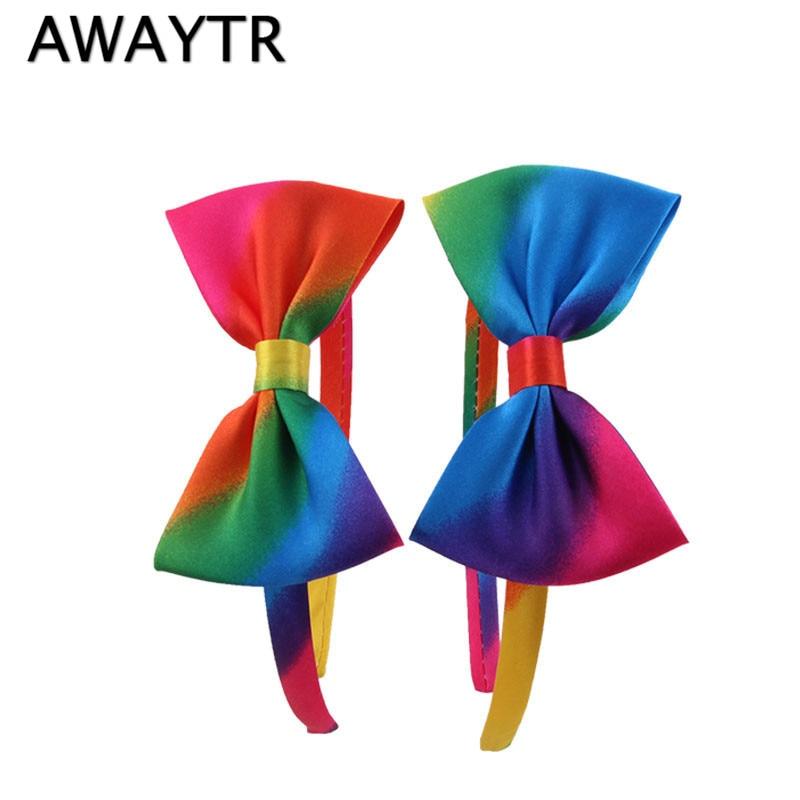 AWAYTR 2 Pcs Korea Hair Accessories for Girls 2017 New Spring Rainbow Color Bow Hairbands Headband Cute Cloth Hair Band