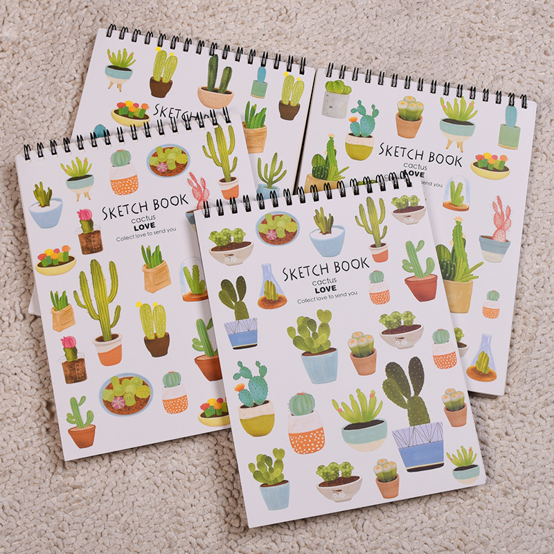 JOUDOO Cute Cartoon Cactus Spiral Notebook A4 Paper Planner Journay Note Book Record Office School Supplies Christmas Gifts joudoo vintage classic galaxy night sky printed note book for kids daily week planner notebook school office supplies notepad