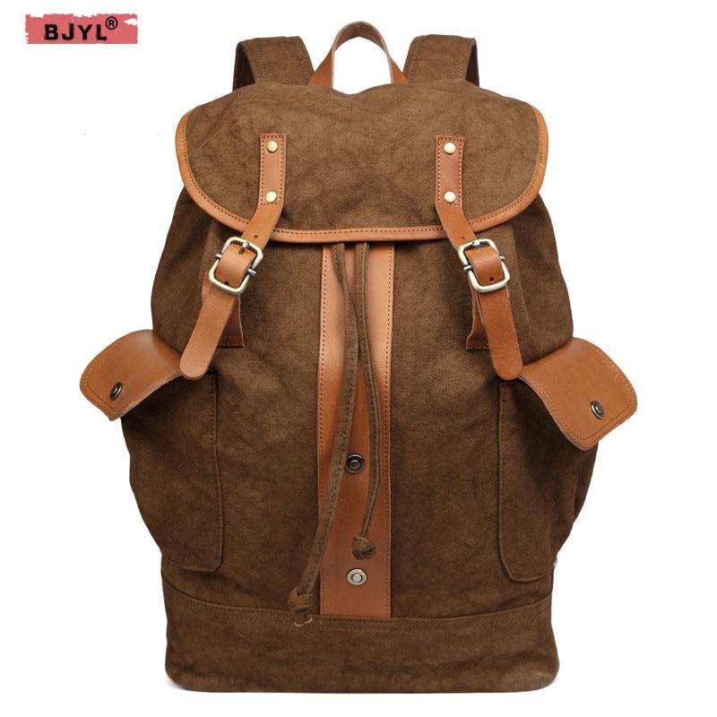 BJYL nouveaux hommes toile sac à bandoulière marée rétro sac hommes étudiants sac à dos en gros toile voyage sacs à dos