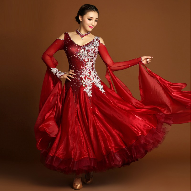 adult big swing rhinestone embroidery professional standard ballroom/waltz/tango/foxtrot modern dance national competition dress