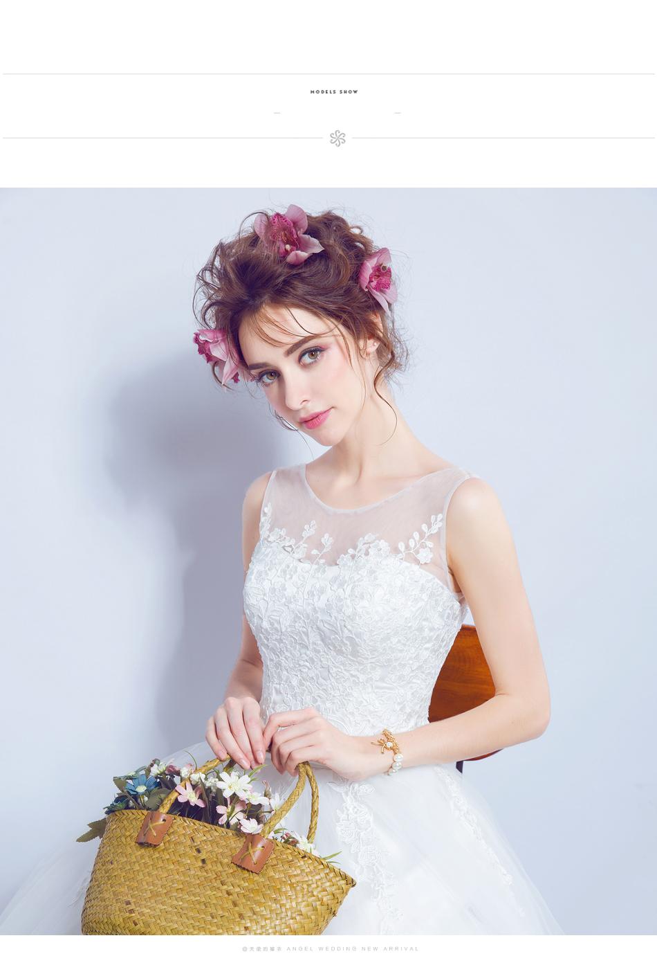 Angel Wedding Dress Marriage Bride Bridal Gown Vestido De Noiva 2017 Lace, flowers, perspective, backless 612 9