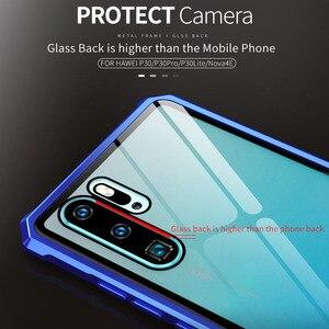 Image 3 - 耐震バンパー金属鎧透明電話ケース Huawei 社 P30 金属アルミクリア強化ガラス電話カバーケースのための P30