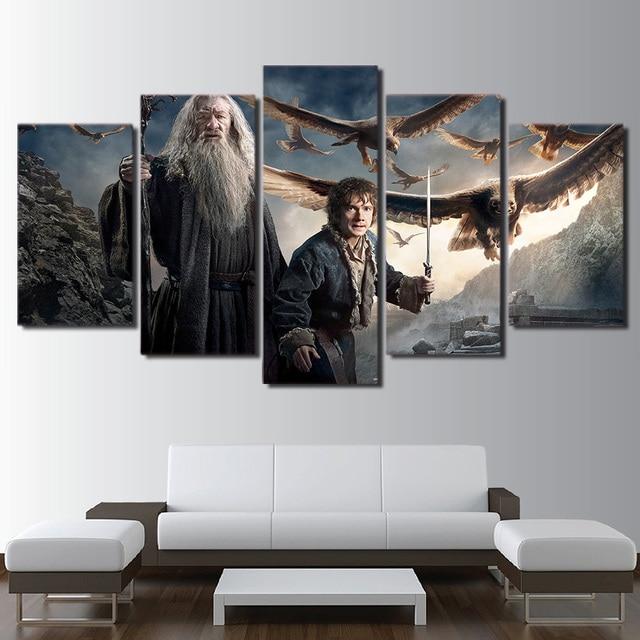 US $5.96 40% OFF|Gedruckt Malerei Wandkunst Rahmen Leinwand Wohnzimmer  Gandalf Bilder 5 Panel Hobbit Herr Der Ringe Poster Wohnkultur PENGDA in ...