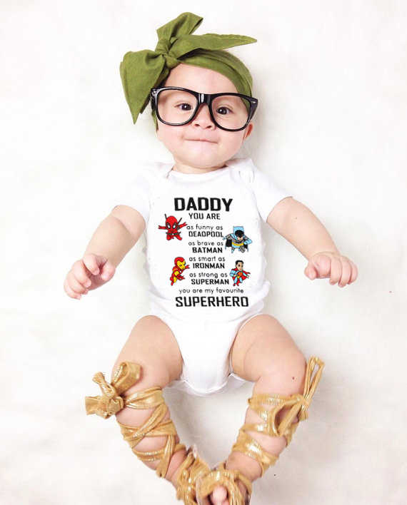 DERMSPE New Casual Newborn Baby Boy Girl Short Sleeve Letter Print Daddy You Are Superhero Romper Baby Clothes White