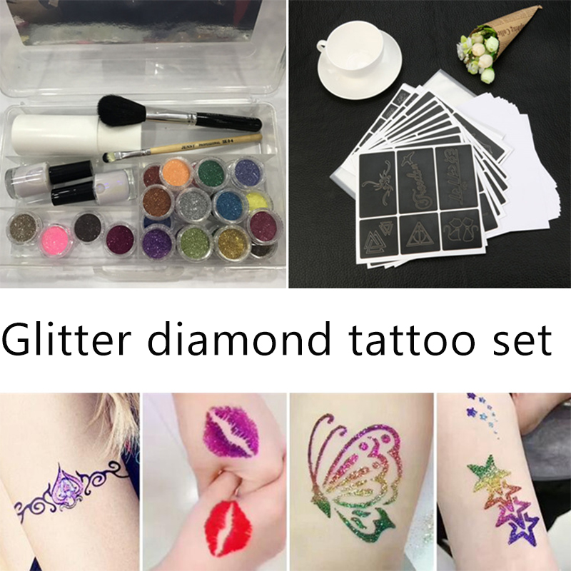 tattoo body art 24 Colors Powder Temporary Shimmer Glitter for Body Art Design Glitter boys and girls  body of art