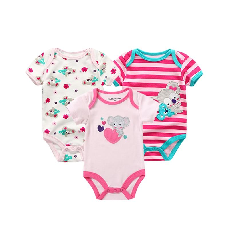3PCS/LOT Newborn Girl Boy Baby Clothes High Quality Cute 100%Cotton Short Sleeve Baby Rompers Roupas de bebe Infantil Costumes Kids Rompers