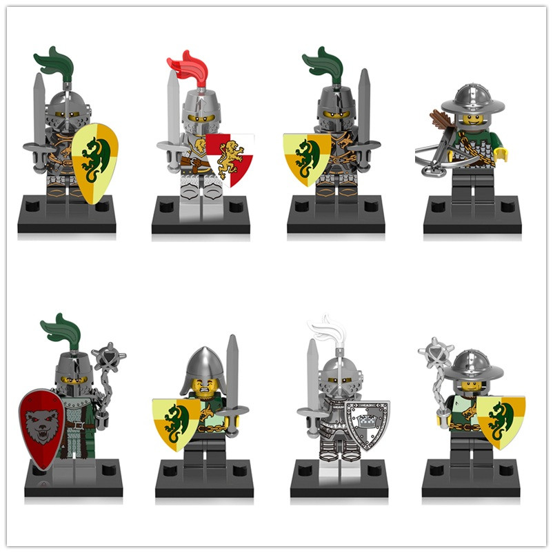 20Pcs/Lot <font><b>LegoING</b></font> Medieval <font><b>Castle</b></font> Dragon Knight Kingdoms Heroic Building Blocks <font><b>Minifigured</b></font> Children Compatible Toys CX0148 image