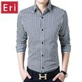 Fashion Brand Striped Shirt Men Long Sleeve Slim Formal Business Male Casual Design Cotton Dress Shirt Social Plus Size 4XL X055