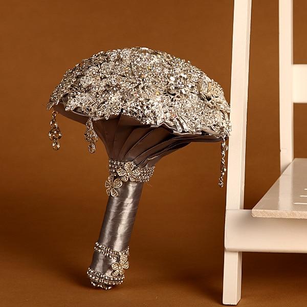 Ramo Novia New Diamonds Sparkling Silver Brown Wedding Bouquet Luxury Ramo De Novia Stock Gelin Cicekleri