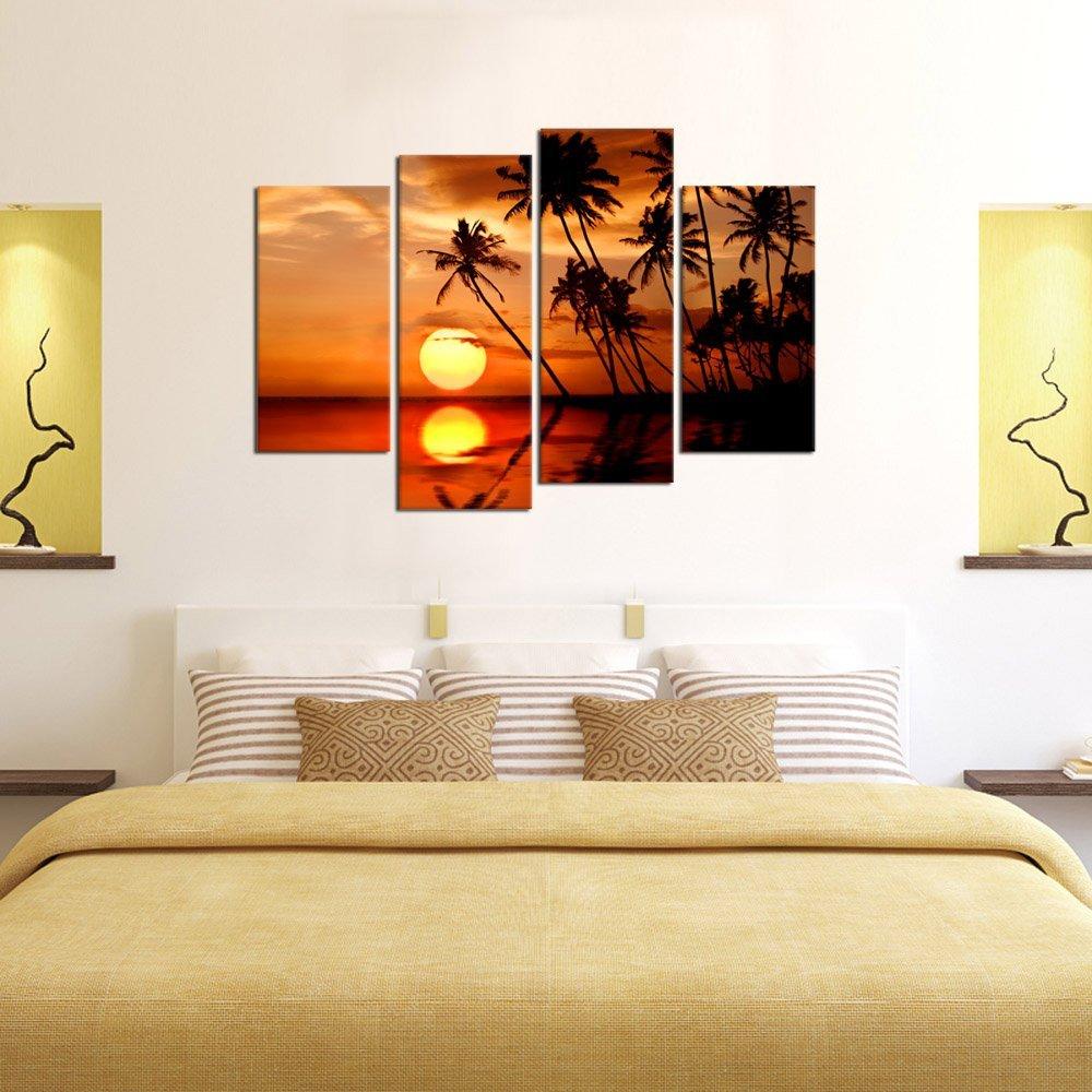 Leinwand Wandkunst Sunset Meer Natur Malerei Gerahmte 4 Stück Palm ...