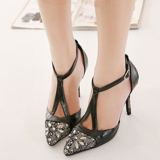 656c5151a96eb Hot Sale T Strap Cover Heel String Bead Cover Toe Women Solid Sandals High  Heel Girl Casual Party Crystal Decro Gladiator Sandal