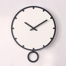 quartz needle wall clock modern design circular single face wooden clock relogio de mesa retro brief