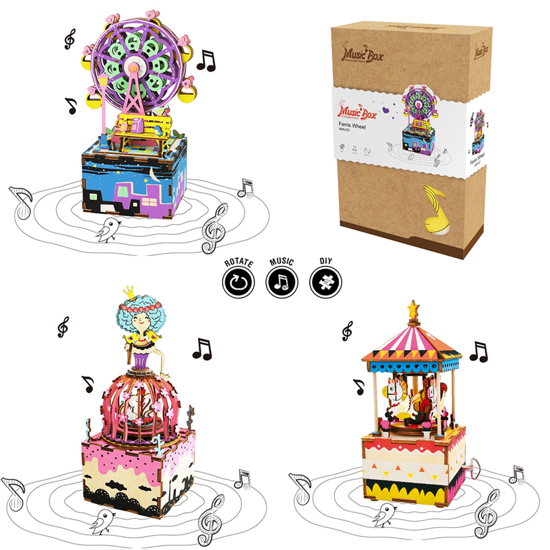 Robotime DIY 3D Wooden Carrousel Ferris Wheel Puzzle Game Assembly Rotatable Music Box Toy Gift For Children Kids Adult AM402