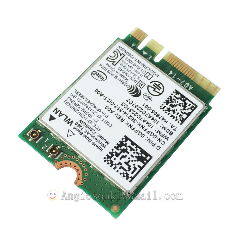 7260ngw Wifi Bluetooth40 867Mbps 24G 5 NGFF WLAN Card For Dell Venue 11 Pro 7130 7139 3120 Inspiron Intel 7260AC In Network Cards From Computer