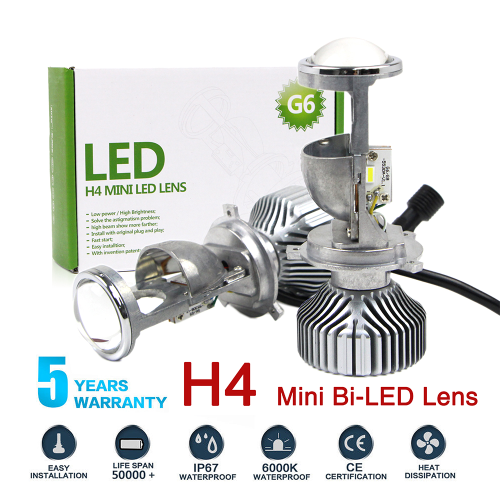H4 Mini Bi LED Projector 1 5 inch Headlight Lens 70W Headlamp Retrofit DIY 9003