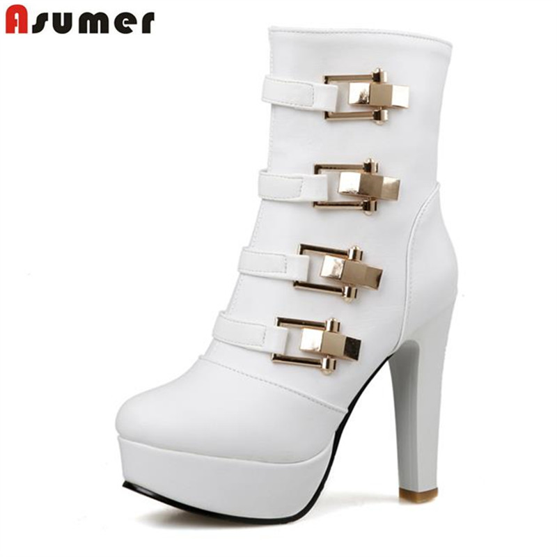 ASUMER new arrival noble high thick heels platform ankle boots buckles side zipper solid colors unique style women winter boots trendy women s boots with solid color and buckles design