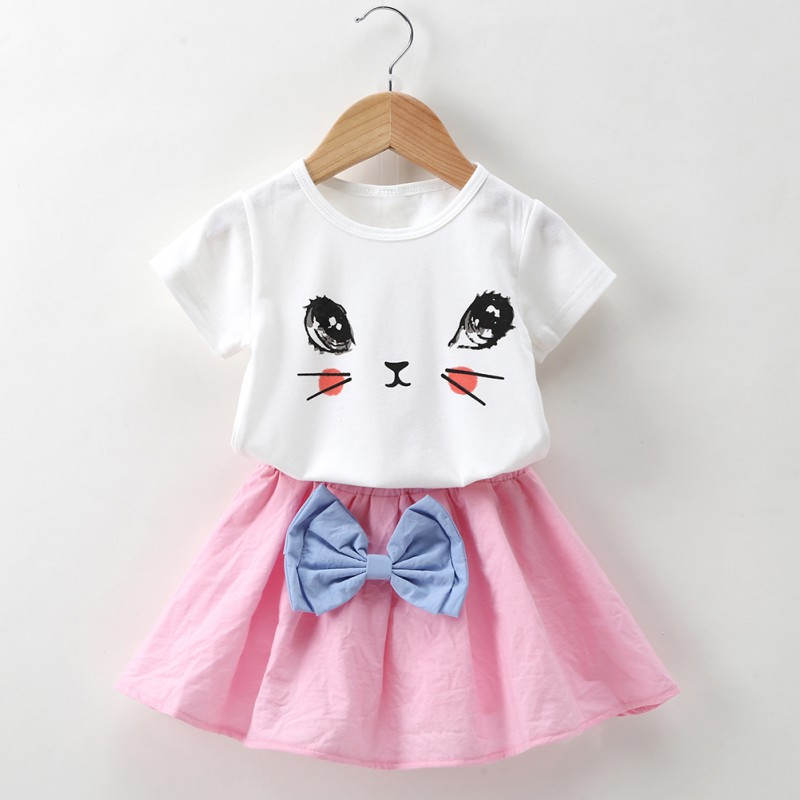 2018 Fashion Girl Clothes Set Summer Cartoon Cat T-shirt+ Solid Bowknot Skirt 2pcs Suit Hot Child Clothing H1