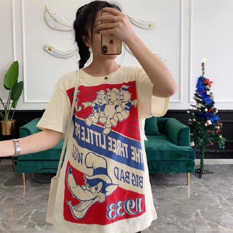 Streetwear Lettre shirt Hauts Style 2019 Dessin Femmes Coréen Blanc Imprimer Nouveau Harajuku Animé Femelle T Vêtements Été zP0qZ