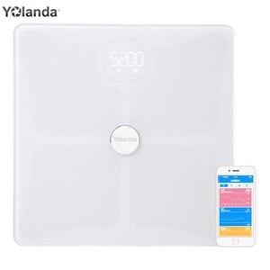 Indeks ciała 24 Yolanda inteligentne wagi tkanki tłuszczowej domowy Monitor składu ciała Premium ukryty wyświetlacz LED obsługa aplikacji Bluetooth