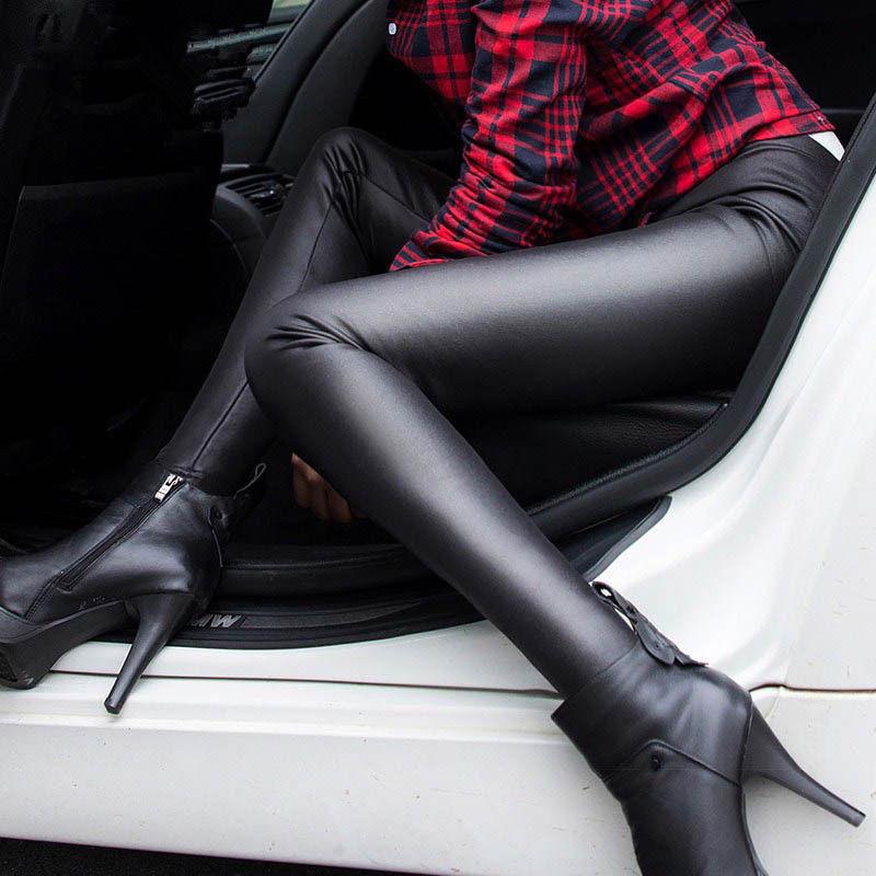 Women PU Leather Plus Size Winter Warm Slim Thicken Pencil Pants Leggings Fleece