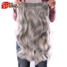 Silike 190 г 24 дюймов растягивается волнистые клип в Kanekalon Синтетические пряди для наращивания волос термостойкие Волокно 4 Зажимы один Piece17 Цвета доступны