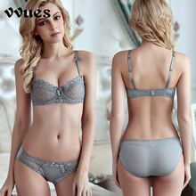 VVUES Ultrathin Lingerie Set Bras Sexy Lace Women Transparent Underwear Seamless Half Cup Embroidery Bow Underwire 2019
