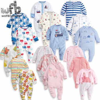 Einzelhandel 3 teile/paket 0-12months langärmelige Infant cartoon footies für jungen mädchen overalls Kleidung neugeborene kleidung