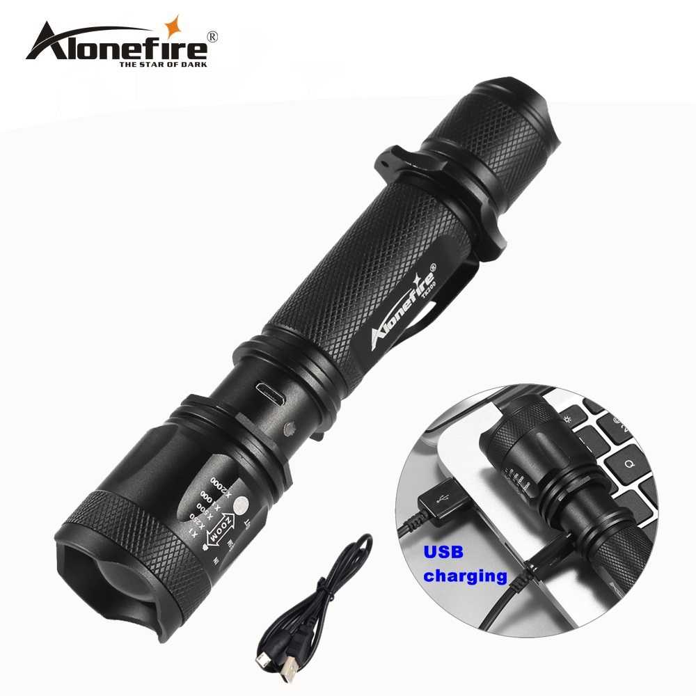 AloneFire TK200 lanterna powerful led cree xml t6 usb zoom flashlight tactical torch flash light self defense 18650 battery usb rechargeable led flashlight cree xml t6 powerful zoom tactical mini flash light bike hunting torch 3 modes waterproof lamp