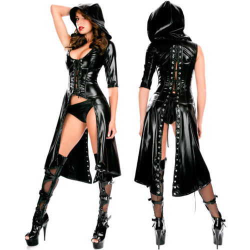 Kvinnors Gothic Fashion Black PVC Faux Leather Bustiers Costume Club - Damkläder