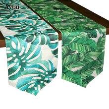 Aytai Digital Print Хлопчатобумажное полотно Столовое бегун Гавайское пальмовое листвое Банановый лист Зеленая ткань для листьев Зеленая столовая бегун 30 * 216см