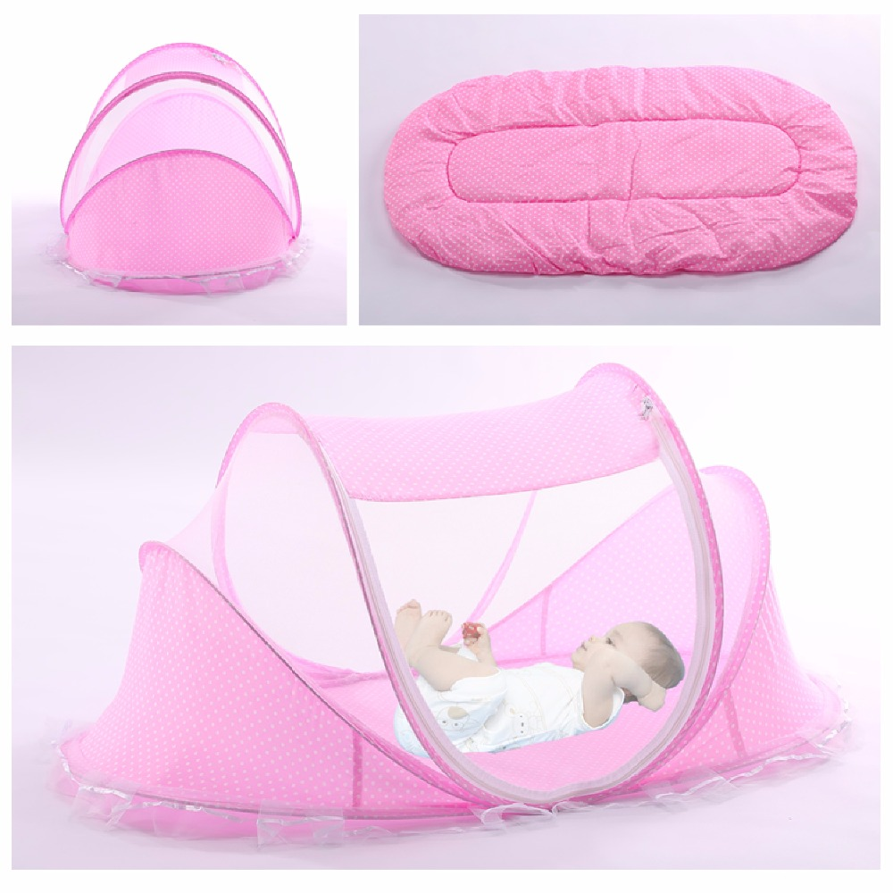 Portable Foldable Baby Sleeping Net Bed 4pcs Pad With Sealed Mosquito Net