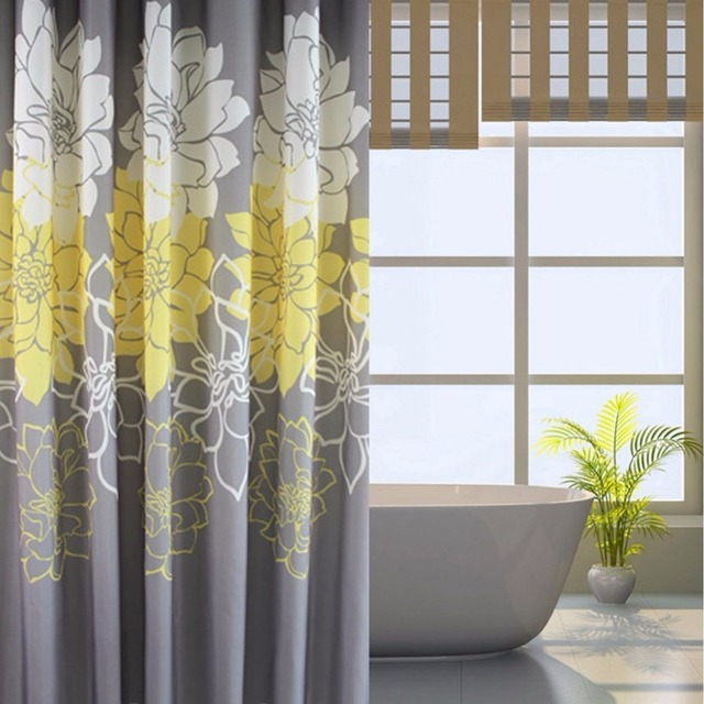 Gray background and yellow flower pattern mildew proof and gray background and yellow flower pattern mildew proof and waterproof washable printed polyester fabric shower mightylinksfo