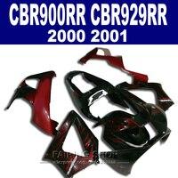 Abs обтекателя комплект для honda cbr900rr 929rr 929 2000 2001 00 01 обтекатели (красный черный) c08