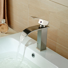 Single Handle Bathroom Waterfall Basin Vessel Sink Mixer Faucet Deck Mount One Hole Water Tap Brushed