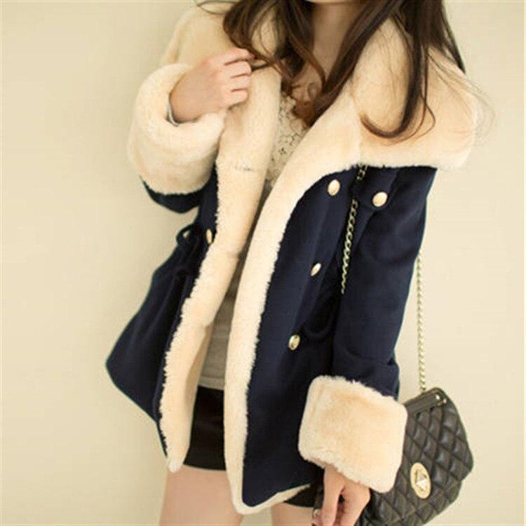 Fast Shipping 2016 winter warm   coats   women wool slim double breasted wool   coat   winter jacket women fur women's   coat   jackets