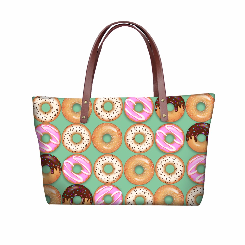 INSTANTARTS Donuts Candy Colour Printed Women Large Tote Bags Brand Designer Female Beach Shoulder Bag Travel Shopping Handbags
