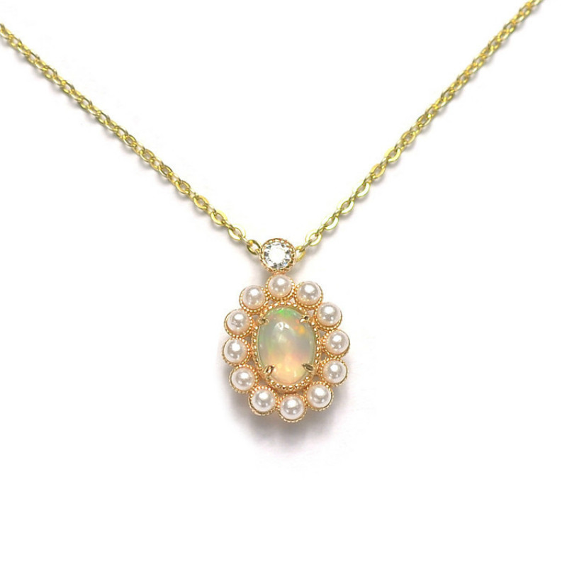 Gold Plated 925 Sterling Silver Opal&Pearl Pendant Exquisite European Court Style Woman Jewelry Necklace Pendant Without Chain time turner rotating hourglass pendant necklace gold silver plated