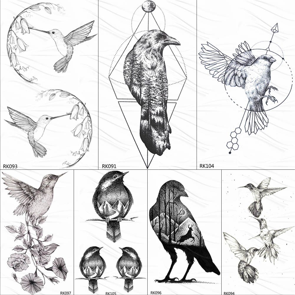 OMMGO Geometric Hummingbird Temporary Circle Round Tattoo Sticker Leaf Pigeon Arrow Tattoo Body Art Black Fake Birds Tatoo Paper