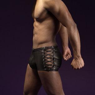 Hombres sexy underwear boxer gay bar escenario de funcionamiento brillante imitación de cuero ata para arriba vendaje remache boxer con diseño de la cremallera underwear