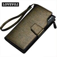 PU Leather Hasp Zipper Wallets Long Design Vertical Section Three Fold Purse Men Multi Card High
