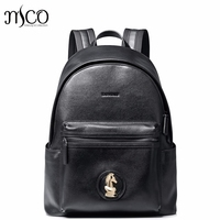 2017 High Quality Fashion Casual Chess Horse Head Genuine Cow Leather Men Backpacks School Travel Shoulders