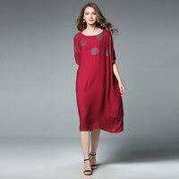 4xl Women Summer Dress Cotton Linen Plus Size Europe Woman Casual Dot Print Short Sleeve Brief