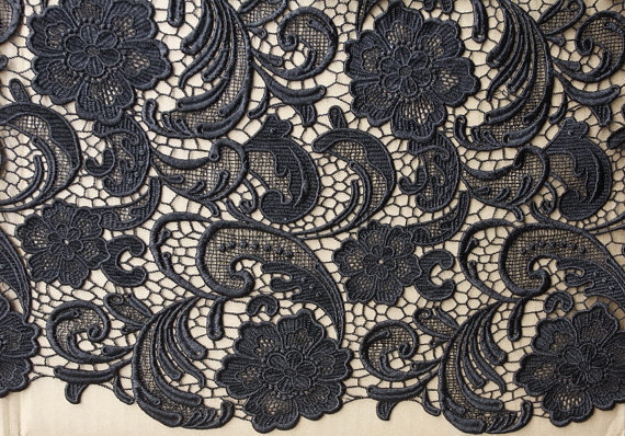 Black Crochet Lace Fabric With Retro Flowers Guipure Lace Fabric By